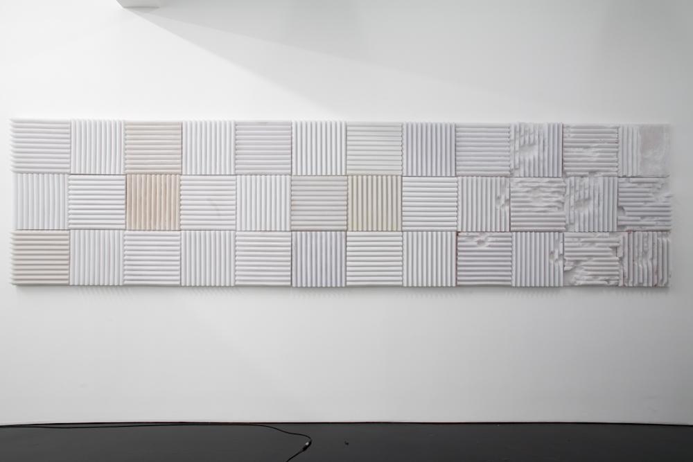 Banks Violette, Not yet titled (Salt/Acoustic Tile Wall Piece)
